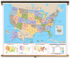 United States Atlas Map Online by United States Intermediate Political Classroom Map From Academia Maps
