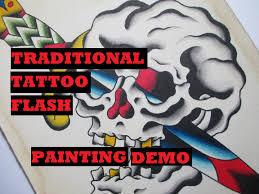 traditional flash painting skull dagger
