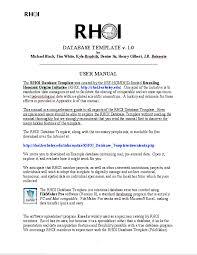rhoi database template downloads