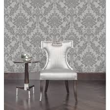 designer interiors clara damask wallpaper dark grey 35391