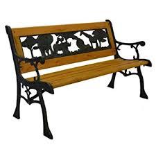 Wrought Iron Bench Wood Slats Amazon Com Home And Garden Hgc Junior Safari Kids Park Bench