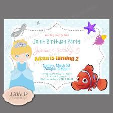 Minions Invitation Card Joint Birthday Invitation Finding Nemo And Cinderella