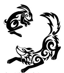 dark black and white rabbit and fox tattoo tattoos re