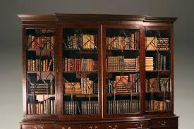 Break Front Bookcase Custom English Mahogany Georgian Breakfront Bookcase