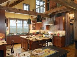 small rustic kitchen designs wooden island wood cabinetry blue