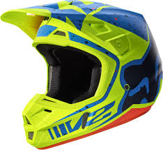 fox helmets motocross fox v2 nirv mx helmet helmets motocross yellow blue fox bmx gloves