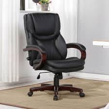 lumbar support desk chair executive desk chair black leather w wood adjustable back lumbar