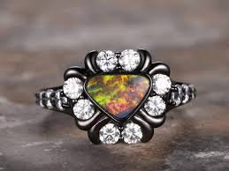 black opal engagement rings australian black opal ring deco ring opal engagement ring