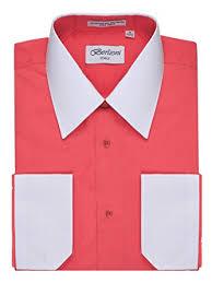 berlioni men u0027s two toned dress shirt with convertible faux french