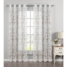 98 Drapes Window Elements Sheer Wavy Leaves Embroidered Sheer Chocolate
