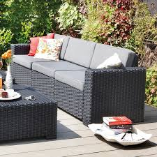 Crate And Barrel Patio Cushions by Allibert Graphite Grey 3 Seater Rattan Sofa Sets California