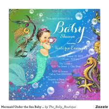 mermaid under the sea baby shower invitation baby shower
