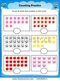 kids worksheet counting practice maths worksheet stock vector