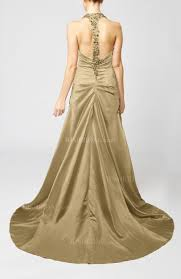 venetian gold wedding dress modern church a line backless