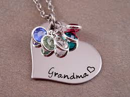 birthstone necklace for grandmother grandmother heart birthstone necklace for grandmothers