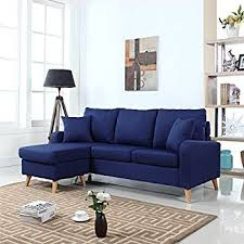 Sectional Sofas With Chaise by Amazon Com Modern Linen Fabric Small Space Sectional Sofa With