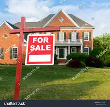 sale realtor sign front large brick stock photo 522138814