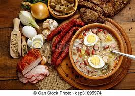 cuisine polonaise traditionnelle traditionnel polonais zurek paques soupe saucisse image
