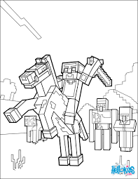 minecraft coloring page ride a horse to the horizon coloring