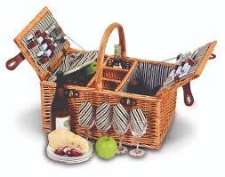 picnic gift basket plus dilworth 4 person willow picnic basket pinstripe lining