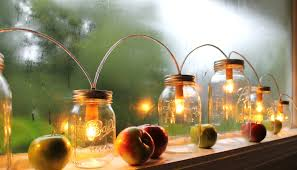 mason jar string of lights rustic banner style mason jar
