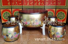 gold drum phoenix chinese living room coffee table leisure table