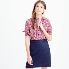 j crew ruffle popover shirt in liberty art fabrics wiltshire print