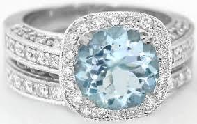 aquamarine wedding rings aquamarine and diamond halo engagement ring and wedding band