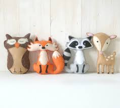 woodland stuffed animal patterns felt fox owl deer raccoon