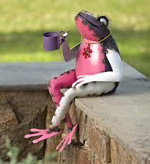 recycled metal tea frog garden garden statues garden