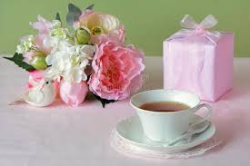 s day flowers gifts s day flowers with gift and cup of tea stock image image of