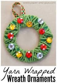 yarn wrapped wreath ornaments pre school yarns and