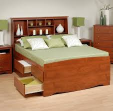 modern dark brown wooden storage bed frame with lighted