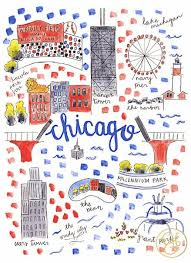 chicago map with attractions map chicago pencil and in color map chicago