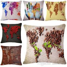 Shabby Chic Pillow Covers by Colorful World Map Cushion Cover Shabby Chic Throw Pillow Case