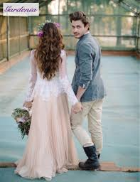 flowy wedding dress with sheer sleeve dress images