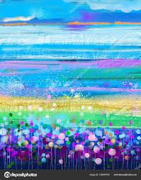 oil painting flowers dandelion cornflower daisy in fields