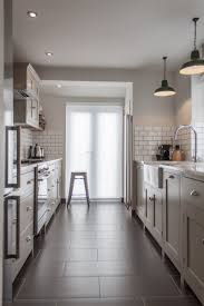 Modern Galley Kitchen Design Kitchen Style Modern All White Galley Kitchen Dark Hardwood Floor
