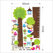 popular owl wall decal buy cheap lots from china cartoon children growth chart wall decal owl monkey flower tree sticker art home decoration