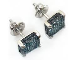 blue diamond stud earrings 14kt white gold blue diamond earrings dz designs nyc