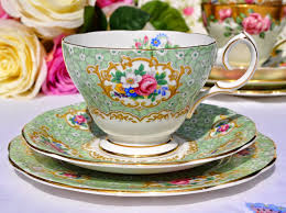 queen anne gainsborough floral green vintage teacup saucer and