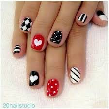 black red and white nail designs