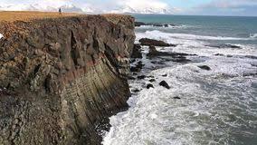 rocky iceland cost in winter stock of rock danger