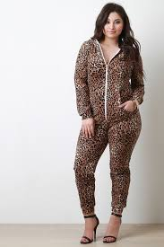 cheetah print jumpsuit cheetah zipper hoodie jumpsuit collective fab