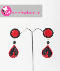 buy earrings online buy black polymer clay hanging earring shop online free shipping