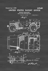 willys army jeep willys military jeep patent patent print wall decor automobile