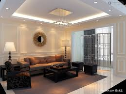 living room pop ceiling design with square hanging lamps plus