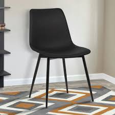 Contemporary Black Dining Chairs Armen Living Monte 32 In Black Faux Leather And Black Powder