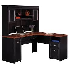 Best Desk L For Computer Work Black Stained Oak Wood Office Computer Desk With Hutch And Shelves