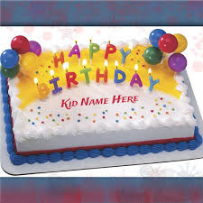 birthday cakes for create kid name on birthday cake with candles and balloons